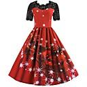 povoljno Božićni kostime-Zima Božićna haljina Žene Japanski Cosplay Kostimi Crvena Print Vintage Kratkih rukava