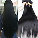 tanie Dopinki naturalne-3 zestawy Włosy brazylijskie Prosta Zestawy w 100% Remy Weave Fale w naturalnym kolorze Pakiet włosów Pakiet One Solution 8-28 inch Kolor naturalny Ludzkie włosy wyplata Cosplay Klasyczny Damskie