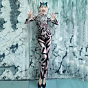 ราคาถูก ชุดเต้นรำ-ชุดเต้นรำ Dancewear แปลกใหม่ / Nightcub Jumpsuits สำหรับผู้หญิง Performance สแปนเด็กซ์ แพทเทิร์นหรือลายพิมพ์ แขนยาว ชุดแนบเนื้อสำหรับการเต้น
