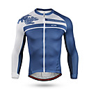 cheap Cycling Pants, Shorts, Tights-Mountainpeak Men's Long Sleeve Cycling Jersey Blue Bike Jersey Top Breathable Moisture Wicking Quick Dry Sports Winter Coolmax® Terylene Mountain Bike MTB Road Bike Cycling Clothing Apparel