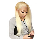 cheap Human Hair Wigs-Virgin Human Hair Full Lace Wig Gaga style Brazilian Hair Straight Blonde Wig 130% Density with Baby Hair Best Quality Hot Sale with Clip Blonde Women's Medium Length Human Hair Lace Wig WoWEbony