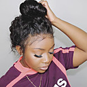 cheap Human Hair Wigs-Remy Human Hair Deep Part Lace Front Lace Front Wig Deep Parting With Ponytail Beyonce style Brazilian Hair Water Wave Black Wig 150% Density with Baby Hair Natural Hairline With Bleached Knots