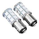 זול אורות בלימה-2pcs 12v baw15d 5050smd 27led רכב אדום בלמים אורות נורות אוניברסלי הפוכה להפסיק זנב מנורה נורות