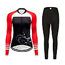 cheap Cycling Jersey & Shorts / Pants Sets-FirtySnow Women's Long Sleeve Cycling Jersey with Tights Black / Red Floral Botanical Bike Clothing Suit Breathable Moisture Wicking Quick Dry Sports Polyester Floral Botanical Mountain Bike MTB Road