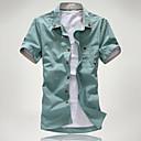 levne Pánské košile-Pánské - Jednobarevné / Grafika Základní EU / US velikost Košile Bavlna Klasický límeček Štíhlý Trávová zelená XL / Krátký rukáv / Podzim