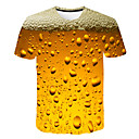 cheap LED Globe Bulbs-Men's Daily Weekend Basic / Street chic T-shirt Print Round Neck Yellow / Short Sleeve