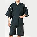 זול תלבושות אתניות ותרבותיות-מבוגרים בגדי ריקוד גברים קימונו קימונו ג'ינביי חלוק אמבטיה עבור Halloween לבוש יומיומי פֶסטִיבָל כותנה עליון מכנסיים