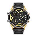 levne Vojenské hodinky-Oulm Pánské Náramkové hodinky japonština Křemenný Kůže Černá Hodinky s trojitým časem Cool Velký ciferník Analogové Módní Steampunk - Černá zlatá + černá zlatá + bílá Jeden rok Životnost baterie