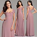 זול שמלות שושבינה-גזרת A צלילה עד הריצפה שיפון קטיפה שמלה לשושבינה  עם שסע קדמי על ידי LAN TING Express / גב פתוח