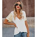 Χαμηλού Κόστους Μοδάτο Δαχτυλίδι-Γυναικεία T-shirt Μονόχρωμο Λαιμόκοψη V Λεπτό Λευκό L
