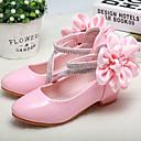 זול עקבים קטנים עבור בני נוער-בנות נעליים לילדת הפרחים / עקבות זעירים עבור בני נוער PU עקבים פעוט (9m-4ys) / ילדים קטנים (4-7) / ילדים גדולים (7 שנים +) פרח לבן / ורוד אביב / סתיו / חתונה / מסיבה וערב / חתונה / גומי
