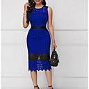levne Příčesky v přírodních barvách-Dámské Elegantní A Line Šaty - Jednobarevné, Vystřižený Délka ke kolenům