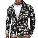 cheap Men's Boots-Men's Blazer Shawl Lapel Polyester Black XL / XXL / XXXL