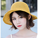 cheap Men's Bracelets-Women's Cute Polyester Straw Hat Sun Hat-Floral Print Summer Beige Yellow Khaki