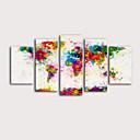halpa Tulosteet-Painettu Valssatut kangasjulisteet Pingoitetut kanvasprintit - Abstrakti Kartat Moderni 5 paneeli Art Prints