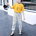abordables Chaussures pour Fille-Enfants Fille Actif / Basique Rayé / Imprimé Plissé / Fendu / Imprimé Manches Courtes Normal Polyester Ensemble de Vêtements Blanc