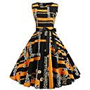 cheap Vintage Dresses-2019 New Arrival Dresses Women's Vintage Elegant Swing Dress Elbise Vestidos Robe Femme - Geometric Yellow L XL XXL
