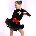 baratos Roupas Infantis de Dança-Dança Latina / Roupas de Dança para Crianças Vestidos Para Meninas Treino / Espetáculo Poliéster / Pelúcia Faixa / Fita / Babados em Cascata Manga Longa Vestido / Cinto