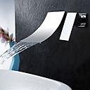 halpa Kylpyhuoneen lavuaarihanat-Kylpyhuone Sink hana - Vesiputous Kromi Seinäasennus Yksi kahva kaksi reikääBath Taps
