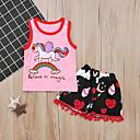 levne The Freshest One-Piece-Dítě Dívčí Šik ven Tisk Bez rukávů Standardní Sady oblečení Světlá růžová