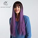 cheap Synthetic Capless Wigs-Synthetic Wig kinky Straight / Natural Straight Style With Bangs Capless Wig Purple Black / Purple Synthetic Hair 28 inch Women's Simple / Synthetic / Ombre Hair Purple Wig Long / Very Long BLONDE