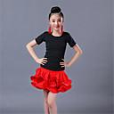 abordables Tenues de Danse Enfant-Danse latine / Tenues de Danse pour Enfants Tenue Fille Entraînement Polyester / Spandex Ruché / Etagée Manches Courtes Taille basse Jupes / Haut
