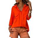 cheap Running Shirts, Pants & Shorts-Women's Plus Size Cotton Shirt - Solid Colored Shirt Collar Orange XXXL