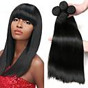 halpa Aitohiusperuukit-4 pakettia Brasilialainen Suora Remy-hius Hiukset kutoo Bundle Hair Yksi pakkaus ratkaisu 8-28 inch Luonnollinen väri Hiukset kutoo Pehmeä Paras laatu Paksu Hiukset Extensions Naisten