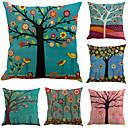 cheap Pillow Covers-6 pcs Cotton / Linen Pillow Case, Botanical Leaf Floral Print Holiday Tropical