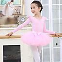 preiswerte Ballettbekleidung-Tanzkleidung für Kinder / Ballett Austattungen Mädchen Training / Leistung Elasthan / Gitter Kaskaden Rüschen Langarm Röcke / Gymnastikanzug / Einteiler