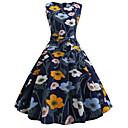 cheap Vintage Dresses-Women's Vintage A Line Little Black Swing Dress - Floral Color Block Bow Print Navy Blue L XL XXL