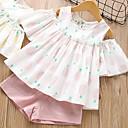 levne Sady oblečení-Děti Dívčí Základní Ovoce Bez rukávů Standardní Standardní Bavlna Sady oblečení Světlá růžová