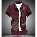 hesapli Erkek Gömlekleri-Erkek Pamuklu Klasik Yaka İnce - Gömlek Hayvan Büyük Bedenler Siyah / Kısa Kollu