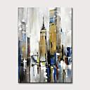 זול ציורים מופשטים-ציור שמן צבוע-Hang מצויר ביד - מופשט וינטאג' מודרני ללא מסגרת פנימית