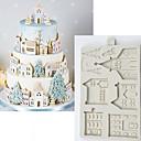 זול תבניות לעוגות-חג המולד עוגת זנגביל בית עובש סיליקון עובש עובש כלי לקשט שוקולד gumpaste sugarcraft מטבח גאדג 'טים