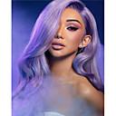 halpa Synteettiset peruukit verkolla-Synteettiset pitsireunan peruukit Vesiaalto Tyyli Kerroksittainen leikkaus Lace Front Peruukki Violetti Purppura Synteettiset hiukset 24 inch Naisten Naisten Violetti Peruukki Pitkä Sylvia 130