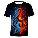 povoljno Mokra odijela i majice za kupanje-Majica s rukavima Muškarci Dnevno Color block / 3D Okrugli izrez Crn / Kratkih rukava