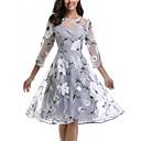 cheap 3D Puzzles-Women's Daily Elegant A Line Skater Dress - Floral Gray XXXL XXXXL XXXXXL
