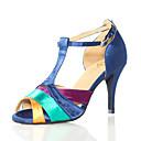 hesapli Kadın Topukluları-Kadın's Dans Ayakkabıları Suni Deri Latin Dans Ayakkabıları Topuklular İnce Topuk Kişiselleştirilmiş Mavi / Performans / Egzersiz