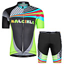 cheap Triathlon Clothing-Malciklo Boys' Girls' Short Sleeve Cycling Jersey with Shorts - Black Floral Botanical Bike Clothing Suit UV Resistant Breathable Moisture Wicking Quick Dry Reflective Strips Sports Lycra Floral