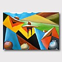 abordables Peintures Abstraites-Peinture à l'huile Hang-peint Peint à la main - Abstrait Contemporain Moderne Inclure cadre intérieur / Toile tendue