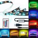 billige LED Strip Lamper-brelong® 3m rgb stripelys 90 leds 5050 smd 10mm 1 24keys fjernkontroll rgb vanntett / skjærbar / usb 5 v 1 stk