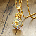billige Herrekjeder-Herre Kubisk Zirkonium Anheng Halskjede Klassisk Mote Titanium Stål Gull 60 cm Halskjeder Smykker 1pc Til Gave Daglig