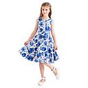 preiswerte Kleider für Mädchen-Kinder Mädchen Retro nette Art Blumen Druck Ärmellos Knielang Baumwolle Kleid Blau