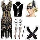 levne Kostýmy z dávných časů-Vintage 20. léta Gatsby Kostým Dámské Náhrdelník Čelenka Flapper Náušnice Červená / černá / Modrá / zlatá + černá Retro Cosplay Festival