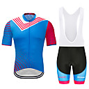 cheap Cycling Jersey & Shorts / Pants Sets-MUBODO Men's Short Sleeve Cycling Jersey with Bib Shorts Sky Blue Bike Clothing Suit Breathable Quick Dry Reflective Strips Sports Mesh Mountain Bike MTB Road Bike Cycling Clothing Apparel / Stretchy