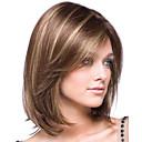 halpa Synteettiset peruukit verkolla-Synteettiset peruukit / Otsatukat Kinky Straight Tyyli Sivuosa Suojuksettomat Peruukki Ruskea Ruskea / Burgundy Synteettiset hiukset 14 inch Naisten Muodikas malli / Pehmeä / Naisten Ruskea Peruukki