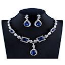 povoljno Komplet nakita-Žene Plav Crvena Sive boje Kristal Svadbeni nakit Setovi Geometrijski Kruška Luksuz Moda Umjetno drago kamenje Naušnice Jewelry Crvena / Dark Blue / Sive boje Za Vjenčanje Angažman 1set