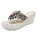 hesapli Kadın Terlikleri-Kadın's Ayakkabı PU Yaz Vintage / Günlük Terlik & Flip-flops Dolgu Topuk Açık Uçlu Günlük / Ev için Taşlı / Payet Beyaz / Siyah