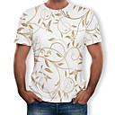 povoljno Muške tenisice-Veći konfekcijski brojevi Majica s rukavima Muškarci Pamuk Cvjetni print / 3D Okrugli izrez Print Obala
